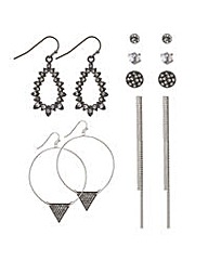 Mood Grey crystal mixed earring pack