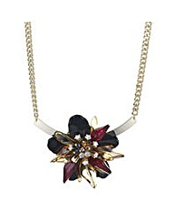 Mood Jet 3d flower torque necklace