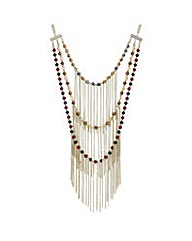 Mood Triple row beaded fringe necklace