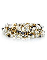 Mood Gold pearl and bead bracelet set
