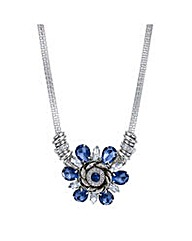 Mood Blue crystal flower necklace