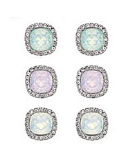 Mood pastel stud pave earring set