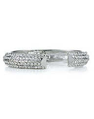 Mood Silver pave crystal open bangle