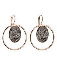 Mood Rose gold druzy stone hoop earring