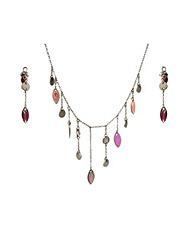 Rhodium Pink Drop Pendant and Earrings