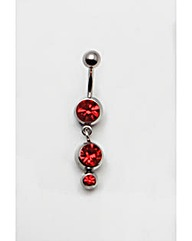 Triple Red Stone Navel Bar