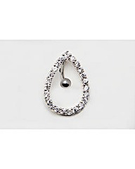 Large Silver Teardrop Navel Bar