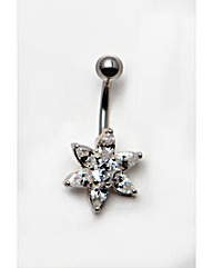 Silver Cubic Zirconia Flower Navel Bar