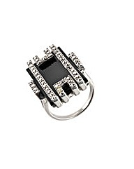 Silver, Onyx, and Marcasite Ring