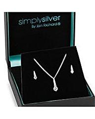 Sterling silver stick necklace set