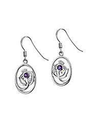 Sterling Silver 0.01Ct Amethyst Earrings