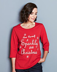 Sparkly Christmas Print Jersey Top
