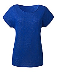 Cobalt Jersey Jacquard Top