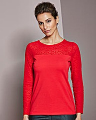 Long-Sleeved Mesh Jersey Top