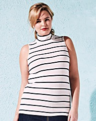 Sleeveless Stripe Rib Roll-Neck