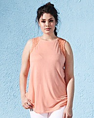 Lace Shoulder Jersey Top