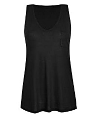 Black V-Neck Jersey Vest With Pocket