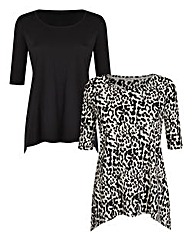 Pack of 2 Dipped-Hem Jersey Tops