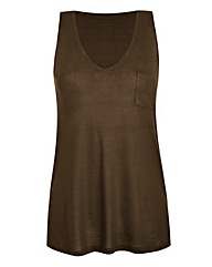 Khaki V-Neck Jersey Vest With Pocket