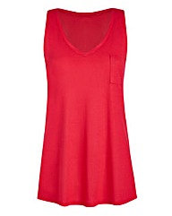 WatermelonV-Neck Jersey Vest With Pocket