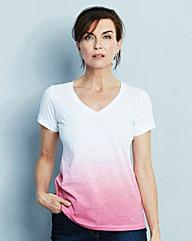 Dip Dye V Neck T Shirt