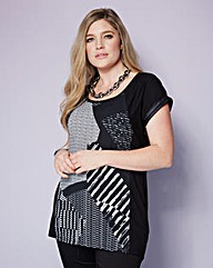 PU Trim Woven Front Top