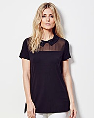 Black - Embellished Jewel Collar Top