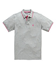 Jacamo Grey Marl Tipped Polo Long