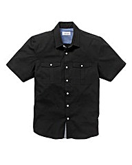 Jacamo Short Sleeve Black Military Shirt