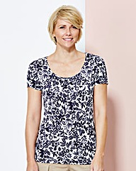 Print Jersey Round-Neck Top