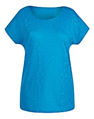 Turquoise Jersey Jacquard Top