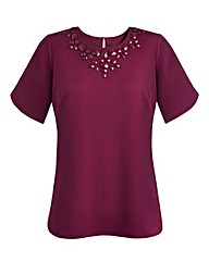 Jersey Top With Curved Hem