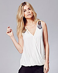 Lace Insert Wrap Top