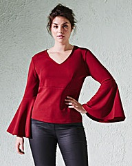 Extreme Bell-Sleeve V-Neck Top