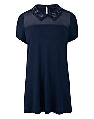 Navy - Embellished Jewel Collar Top