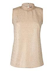 Sleeveless High-Neck Textured Top