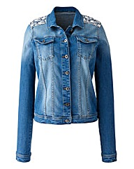 Angel Ribbons Lace Trim Denim Jacket