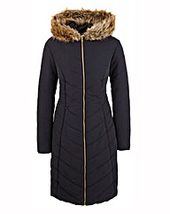 Padded Fur Trim Hooded Coat