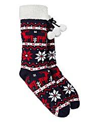 Totes Reindeer Slipper Socks