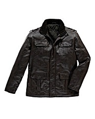 Flintoff by Jacamo Four Pocket PU Coat