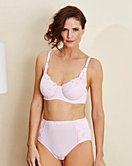 Pink Iris Embroidered Cotton Comfort Bra