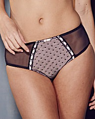 Ribbon Slot Spot Mesh Briefs,Black/Blush