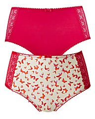 2 Pack Hot Pink Print Full Fit Briefs