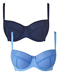 2 Pack Mesh Blue Check Balcony Bras