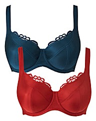 2 Pack Lucy Full Cup Navy/Red Bras