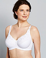 Iris Embroidered CottonComfort White Bra