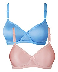 2 Pack Claire Non Wired Pink/Blue Bras