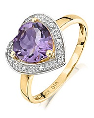 Amethyst and Diamond Heart Shaped Ring