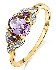 9 Carat Gold Amethyst and Diamond Ring