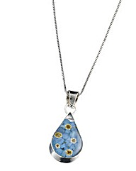 Forget Me Not Teardrop Shaped Pendant